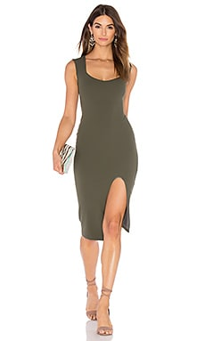 Captivate Square Neck Midi Dress in Olive