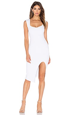 Captivate Square Neck Midi Dress in White