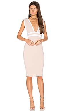 Mia Midi Dress in Nude & White