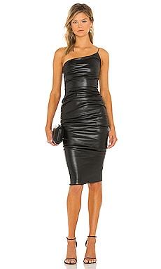 Rhea Faux Leather Midi Dress Nookie $279