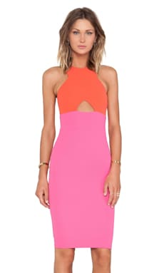 Nookie Farrah Shift Dress in Orange & Pink