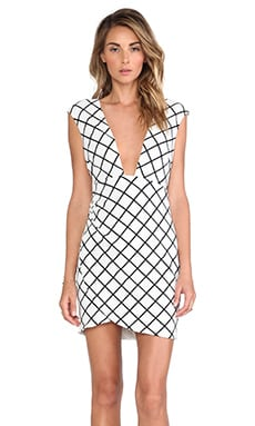 Nookie Bowie Check Low Cut Shift Dress in White