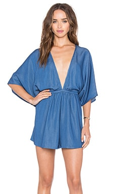 Dreamer Denim Romper in Dark Denim