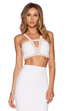 Nookie Seymour Crop Top in White & Nude
