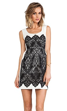 Kissing Booth lace Dress in Ivory/Black
