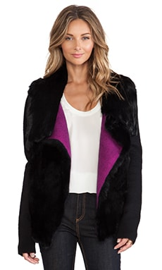 Nanette Lepore Rabbit Fur & Ribbed Jacket in Black