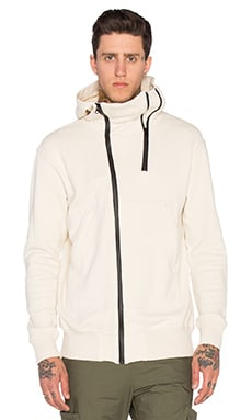 NLST Double Zip Hooded Sweatshirt in White