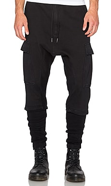 NLST Ribbed Cargo Pants in Black