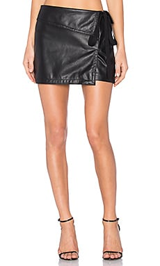 Side Tie Mini Skirt in Black