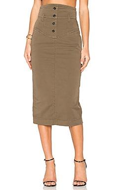 High Waisted Midi Skirt in Khaki