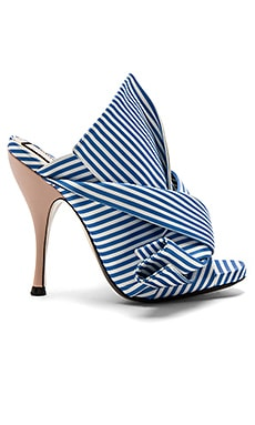 Open Toe Heel in Blue & White Stripe