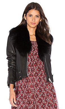 NOUR HAMMOUR Nada Fox Fur Collar Jacket in Black For Fur & Black Leather