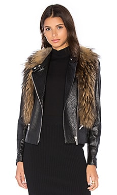 NOUR HAMMOUR Flashing Lights Jacket with Raccoon Fur in Natural Raccoon Fur & Black Leather