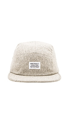 Norse Projects Melange Herringbone 5 Panel Hat in Light Grey
