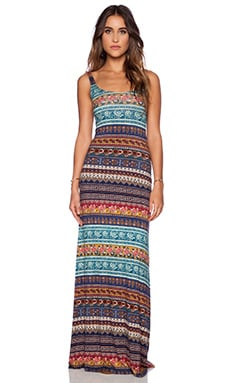 NOVELLA ROYALE Babs Maxi Dress in Blue Moroccan Rose