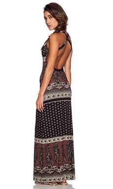 NOVELLA ROYALE Midnight Rambler Maxi Dress in Black Daisy Paisley