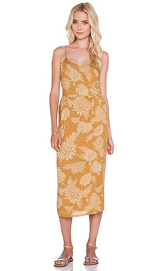 NOVELLA ROYALE Lux Midi Dress in Gold Dahlia