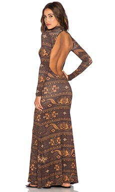 NOVELLA ROYALE Blackbird Maxi Dress in Brown Moonshine