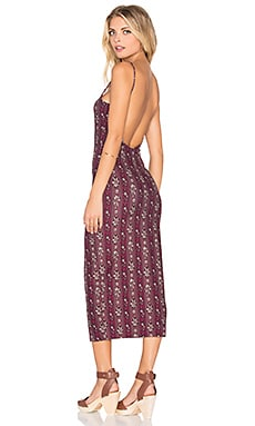 NOVELLA ROYALE Farrah Midi Dress in Plum Hudson Stripe