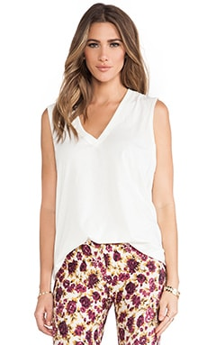 Muse Deep V Cotton Tank in White