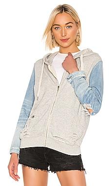 Gretchen Zip Up Denim Sleeve Hoodie NSF $228