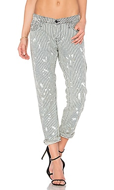 Skinny Crop Pants in Painted Railroad Stripe