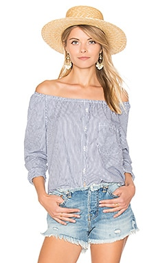 Babette Top in White & Navy