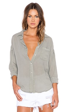 NSF Rhodes Button Up Top in Pigment Olive