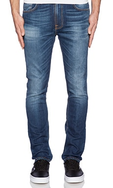 Nudie Jeans Tape Ted in Grey Worn Indigo