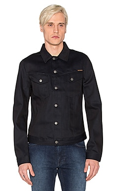 Nudie Jeans Billy Denim Jacket in Dry Black Dense