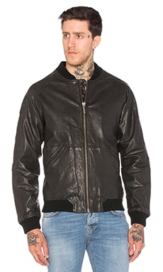 Nudie Jeans Brook Leather Jacket in Black