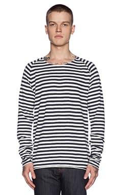 Nudie Jeans Otto Raglan Sleeve Tee in White Navy