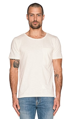 Nudie Jeans Pocket Tee Slub Org. Front Seam in Off White