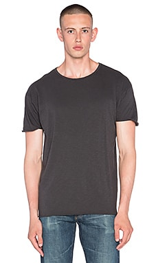 Nudie Jeans Unfinished Hem Slub Tee in Black