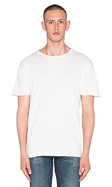 Nudie Jeans Unfinished Hem Slub Tee in White