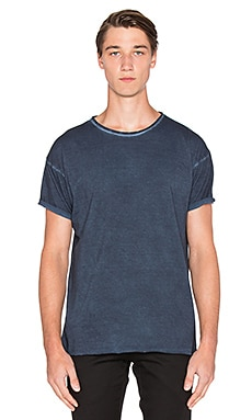 Nudie Jeans Pigment Dye Raw Hem Tee in Navy