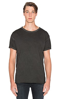 Nudie Jeans Pigment Dye Raw Hem Tee in Dark Grey