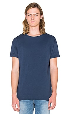 Nudie Jeans Raw Hem Slub T Shirt in Blue Mirage