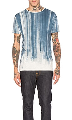 Nudie Jeans Loose Water Flow Tee in Off White & Blue