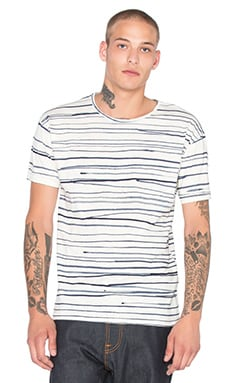 Nudie Jeans Loose Rain Stripes Tee in Off White & Blue