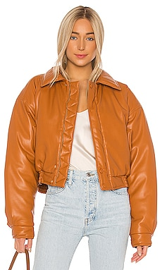 Bomi Faux Leather Bomber Jacket Nanushka $369