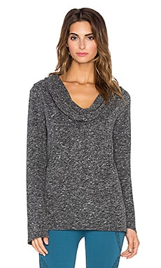 NUX Cozy Cowl Neck Pullover in Charcoal Tweed