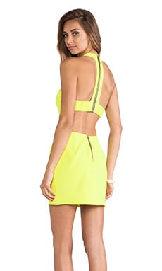 T Back Cutout Dress in Chartreuse