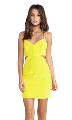 Naven Lux V Neck Cut Out Dress in Chartreuse