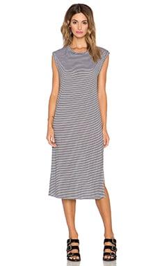 NYTT Open Back Midi Dress in Black & White Stripe