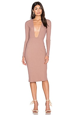 Long Sleeve Plunge Dress en Mauve