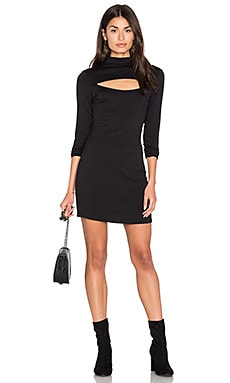 NYTT High Neck Open Front Dress in Black