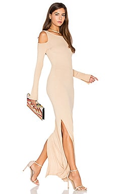 Cold Shoulder Maxi Dress in Nude