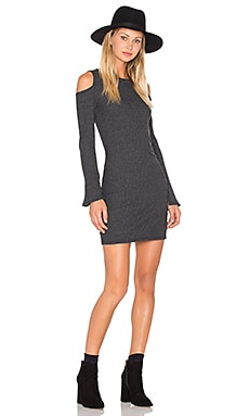 Exposed Shoulder Dress in Gunmetal