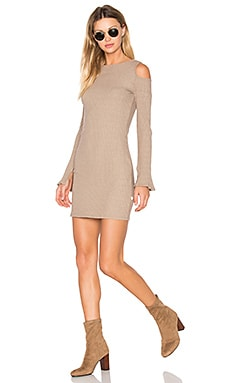 Exposed Shoulder Dress in Mocha